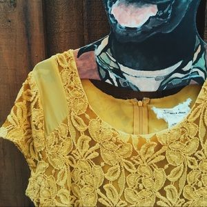 Yellow lace floral dress Urban Outfitters